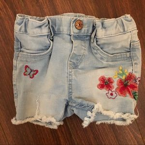 Denim cutoff shorts with floral detail size 9-12m